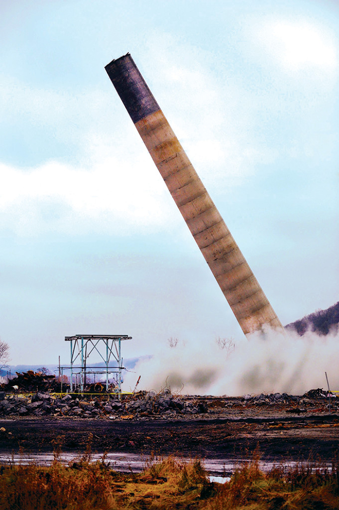 The smoke stack falls on the site of a Detonators shoot in Weirton, WV, December 10, 2008, as seen on episode 10.
